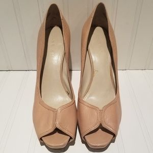 Nine West Nude Peep Toe Heels - Size 8.5